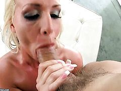 Blonde Sadie Swede with massive hooters is too horny to stop fucking