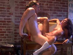 Leggy legged slut Kirsten Price with natural tits loves getting her hot snatch fucked hardcore style. She gets her slit drilled in a many sex positions before her sex starved lover gets enough.
