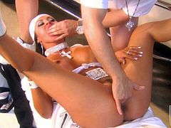 Hot bodied busty brunette Mariah Milano in bandanna gets her neatly trimmed snatch banged good and hard after dick sucking. Nothing can stop hot guy from drilling her tight hole.