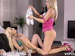 If you are fond of slutty babes, who look like barbie dolls, watch Puppy and sweet Jessyca getting dirty. These hot blonde babes share a kinky fetish for pissing. So, dare to see the bitch in pink dress, pissing on her playful companion's pants and then undressing. Fingering cunt and kissing, turns them on...