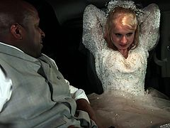 This horny couple can't wait until getting home, so the slutty bride takes off her veil and white dress, revealing her crazy tattooed body. See sexy Eidyia, riding her groom's cock with lust. The blonde slut is eager to suck that black big dick and screams of pleasure, when she gets it stuffed in her ass...