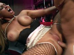 Big racked lovely blonde Abbey Brooks in fishnet stockings gets her beautifully trimmed snatch licked and fucked by her raven haired fuck buddy. Nothing can stop him from banging her coochie.