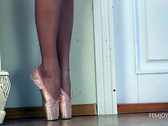 Naughty Verena looks very hot wearing white. But wait to this this horny lady naked and exposing her natural lovely boobs, and peachy shaved cunt! She just loves looking to herself in the mirror, while doing sensual ballerina movements across the tidy room.