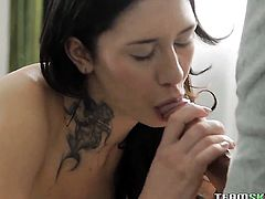 Extremely hot vixen with big knockers and clean snatch shows her cock sucking skills in oral action with hot bang buddy