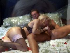 MILF blonde Jessica Drake in beautiful lingerie pulls her black lace panties aside after blowjob and gets her tight pussy boned in the middle of the bed. Watch her fulfill guys sex fantasies.