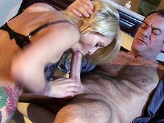 Blonde bombshell Monique Alexander is going to deep throat that long and fat pecker before she gets to sit on him and bounce her butt cheeks up and down of it