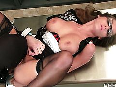 Madison Ivy with gigantic jugs cant resist the desire to take James Deens hard cock in her mouth