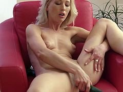 This blonde-haired slut with glossy lips and subtle makeup, feels at ease in front of the camera... Naughty Uma has chosen a cucumber to play dirty. First, the hot lady sucks it with a lusty desire, which can be depicted in her beautiful eyes. From here, there's no more than a step to stuffing it in her pussy.