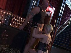 Blond-haired sweet porn diva Ash Hollywood with small boobs and beautifully trimmed pussy gets her hole stuffed full off cock after oral fun. She arches her back while bouncing up and down on cock.