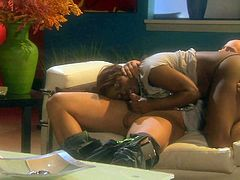 Juicy black woman Jada Fire with shapely butt and huge tits shows her assets as horny white guy bangs her mouth and twat on the couch in interracial scene. This bosomy chocolate lady is horny as hell.