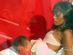 Exotic asian chick Kaylani Lei with tiny tits gets banged from behind and takes cumshot on her small as in the middle of the desert. Great sex fantasy with hot blooded girl!