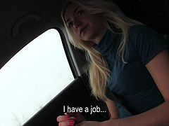 Lovely hitchhiker Victoria Puppy with long blond hair is a easy girl who is ready to show her tits here and now. She bares her assets in a playful manner on the front seat of a car.