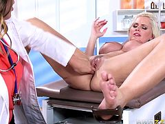 A stunning blonde bitch with amazing big tits spreads her legs, to let dominant Val, finger her shaved pussy deeply. The dirty game includes using sex toys. See Alena sucking a dildo! Wild lesbians having fun in the doctor's office...