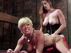 Nasty Bella is a merciless mistress, who likes wearing a kinky strap on, just to fill her lovely obeying partner's butt hole with it. Watch the busty hot lesbians getting dirty. The bondage and the kinky vibrator make this experience very inciting!