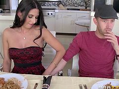 A sexy brunette gets so horny, during having meal with family, that she persuades her partner into fingering her shaved peachy pussy. Watch the seductive milf inviting him upstairs, to suck his cock!