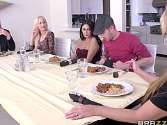 sexy nikki seduces a guy during mealtime