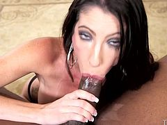 Sexy Dava seems to enjoy to have her mouth filled by a hard dick, while her throat is awfully pounded. See the naughty lady giving in to a horny ebony partner and enjoy all the nasty details!
