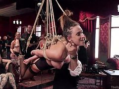 In the hot orgy chamber, slutty Ashley has been brought, to be humiliated in front of everyone. Click to watch the busty slave tied up and bonded with strong inescapable ropes. She has no way out, as her screams won't get any help now.