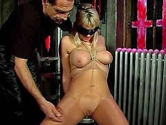 Big tits blonde, bound and blindfolded, teased by her master