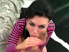 Eva Angelina is one talented slut. Her tits are bouncing freely while she sucks on a massive cock until she lets it slide down her deep throat as if it a spaghetti.