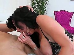 Huge titted MILF Veronica Avluv in sexy black lingerie spreads her long legs after blowjob and gets her wet cunt banged hard with her panties on. This busty experienced woman is fucking horny.