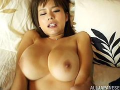 Her saggy tits flop around, as she rides her man's hard penis. When she lays on her back, her boobs are still gigantic. They shake as she is pounded hard. When her man plays with those huge jugs on her chest, he gets so close to cumming.