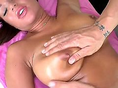 Naked super sexy brunette Angelica Heart with firm boobs and shaved innie pussy sucks and fucks after full body rub down. Youll see perfect bodied chick giving head and getting shagged in this steamy massage video.