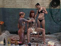 Do you want to learn all about the sensual art of sploshing? Check out this video, to see how sexy it can be to rub food all over your partner. In this video, three girls get intimate with chocolate sauce and whipped cream.