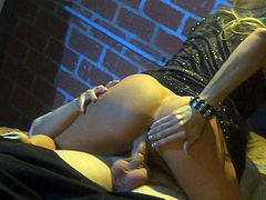 Blonde slut that goes by the name of Jessica Drake is about to have her tight and dripping wet fanny banged without mercy in this video while shes wearing black lingerie