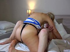 Bernadett is a mature whore, who has questionable tastes. But who are we to judge, when this sexy blonde loves what she does to her. Watch Bernadett put on a strap on and shove it in this blonde slut's tight pussy. The blondie loves it and is sure, she wants to return the favour.