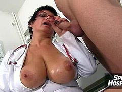Hot legs cougar medic Maya handjob with cum on tits