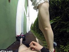 Slutty Iveta leaves her bag on the ground and throws away her bra, to show her small boobs, without knowing that she is being filmed with a clever spy camera. Click to watch the seductive brunette bitch sucking cock, spreading legs and getting banged behind some bushes outside!