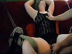 Tied up and blindfolded girl toyed to a moaning orgasm