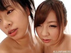 Hana and Ran are chubby, but that just means they have enormous breasts. The lovely Japanese ladies play with this lucky guy. He gets tits in his face and all over his rock hard erection. They kiss and lick his cock together. Will their massive boobs make him cum?