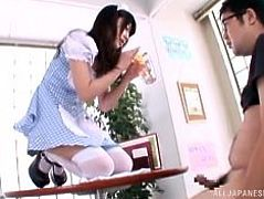 If you like to see slutty Japanese bitches dressed up in kinky costumes, meet sexy Arisa. This hungry for cock playful lady is wearing a hot maid's uniform, which really seems to suit her perfectly. Click to watch the horny brunette kissing her partner and sucking dick passionately!