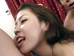 Haruka has shaved crack and mouth fucked same time