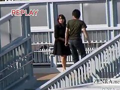 Lecherous Japanese babe struts around nude in public