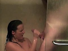 Mature lady handjob and facial in the shower