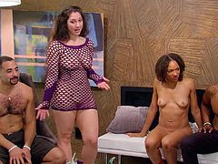 These naughty and erotic sluts are getting ready to have some fun with multiple sex partners. These swingers are anticipating rubbing their bodies together. The cute brunette slut takes of her mesh purple top and soon, everyone else is getting naked for sex, too.