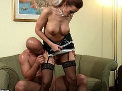 Stunning busty brunette babe in nylon stockings gets holes hammered