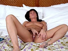 Rahyndee is a raven-haired young woman, who has a very nice body and an even nicer pussy, which she starts playing with for the cameraman, after sliding her panties off. The luscious hottie rubs herself, while moaning. She decides to help the cameraman out with his stiffy, sucking it with delight.