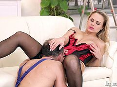 Barra Brass is insanely attractive! The blonde milf wears provocative lingerie and red high heels, which are a huge turn on. The horny worker simply cannot help glancing at her perfect body, as she relaxes on the couch. See this bitch spreading legs and sucking cock wildly.