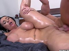 Marvelous cowgirl with hot ass in bra gets her big tits oiled before giving her guy titjob and enjoying her shaved pussy pounded hardcore missionary