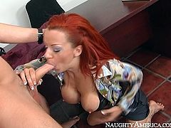 Wondrous red haired busty MILF kneels down to give blowjob and titjob