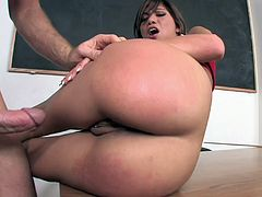 Pretty girl with pigtails takes a cock in her mouth and cunnie