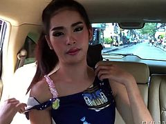 She was strolling around Bangkok, when I noticed her and invited this cute ladyboy back to my place. The cutie showed off her boobs for me. I wanted her cock so bad, that I licked her nipples, to turn her on. Soon she was ready for me to wank and suck her off.