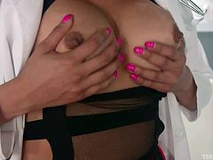 The only cure for this patient is some big shemale cock. She gets him hard and gives him a blowjob, before shoving her massive transsexual cock into his mouth. She makes him suck and face fucks him, until she is ready to cum.