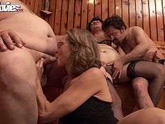 Two mature horny couples eat eachother out before fucking each other´s brains out.
