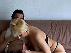 Insane aged mom gets fucked hard sucking cock for cumshot
