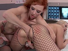 A busty blonde bitch on high heels is dominated by a naughty milf. Click to watch slutty Aubrey fisting ass. Next, the tattooed redhead begins to use a kinky anal dildo, which she stuffs deeply in Angel's big ass.